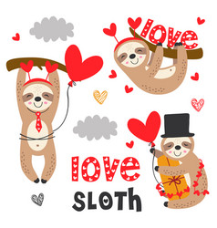 Set isolated love sloth with gifts vector