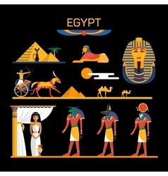 set of Egypt characters with pharaoh gods vector image
