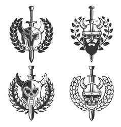 Set of helmets with wreath and sword design vector
