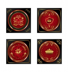 set red gold framed labels vector image