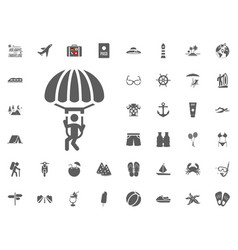 Skydiving paraglider paraplane icon summer vector