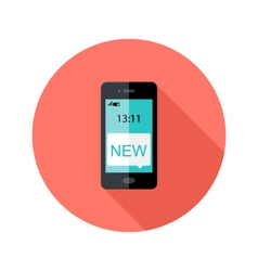 Smartphone app notification circle flat icon vector
