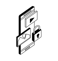 smartphone device with set icons and padlock vector image