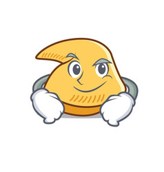 Smirking fortune cookie character cartoon vector
