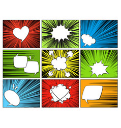 speech radial elements comic cartoon shapes vector image