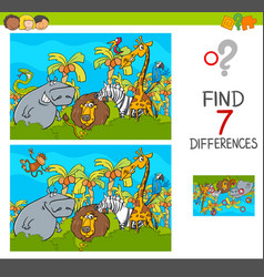Spot the differences game with safari animals vector