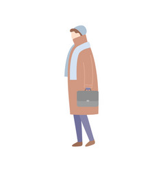 Standing side view person in coat isolated vector