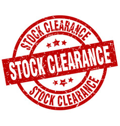 stock clearance round red grunge stamp vector image