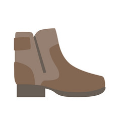 Sturdy brown shoe with zip isolated footwear flat vector