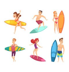 summer surf characters funny mascots vector image