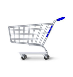 supermarket shopping cart side view empty vector image