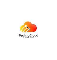 Technology cloud logo design vector