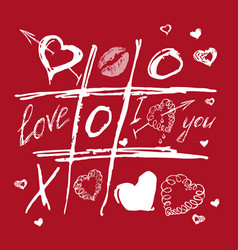 Tic tac toe valentines day red white love sketch vector