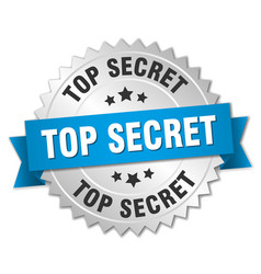 Top secret 3d silver badge with blue ribbon vector