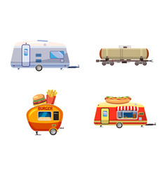 trailer icon set cartoon style vector image