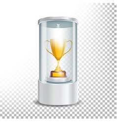 transparent glass museum showcase podium with vector image