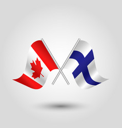 Two crossed canadian and finnish flags vector