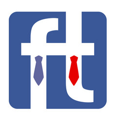 two letter f dressed in tie shirt and suit vector image