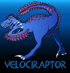 Velociraptor cute character dinosaurs vector
