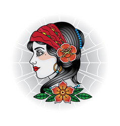 Vintage girl face tattoos vector