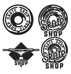 Vintage skate shop emblems vector