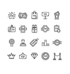 vip sign thin line icon set vector image