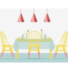 With dining room in flat style vector