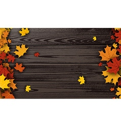 Wooden texture background with maple leaves vector