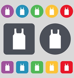 Working vest icon sign A set of 12 colored buttons vector