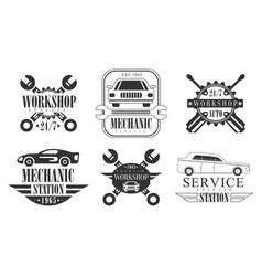 workshop station premium retro labels set vector image