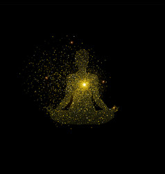 Yoga lotus pose made of gold glitter dust vector