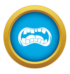 Zombie mouth icon blue isolated vector