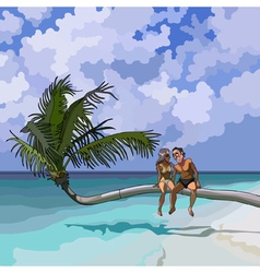 cartoon couple in love sitting on a palm tree vector image