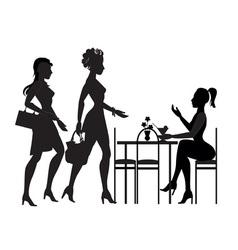 girls met in a cafe vector image vector image
