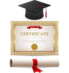 Golden certificate diploma and graduation cap vector image