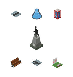 isometric street set of path sculpture sitting vector image