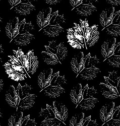 prints of leaf Seamless pattern on a black vector image
