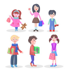 shopping children flat characters set vector image vector image