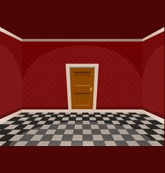 cartoon empty room with a door in red style vector image vector image