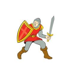 Medieval knight shield sword standing cartoon vector
