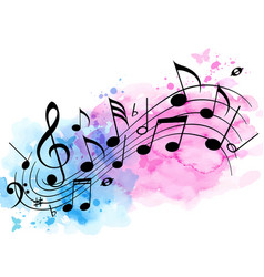 music background with notes and watercolor texture vector image vector image