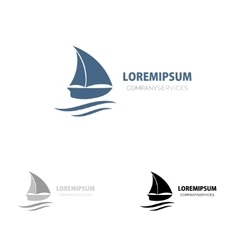 Ship sign small blue boat Branding Identity vector image vector image