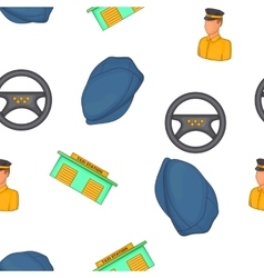 Taxi service pattern cartoon style vector
