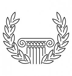 Antique greek column and laurel vector