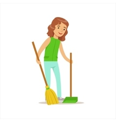 Girl cleaning up with broom and duster helping in vector