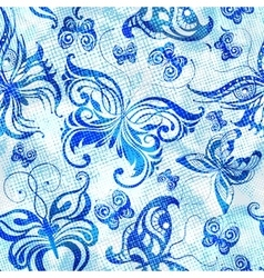 Seamless pattern with blue butterflies vector image