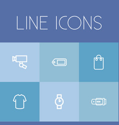 set of 6 editable business outline icons includes vector image