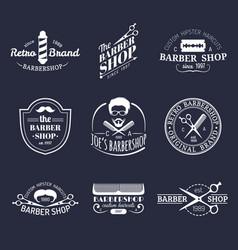 set of vintage hipster barbershop logos vector image