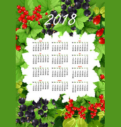 2018 calendar of fresh berries and fruits vector image
