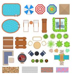cartoon landscape design elements set top view vector image vector image